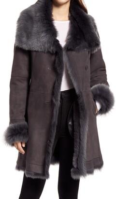 HiSO Toscana Genuine Doubleface Lambskin Shearling Trimmed Coat