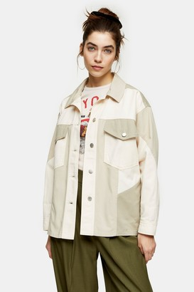 Topshop Womens Ecru Panelled Shacket - Ecru