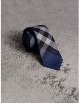 Burberry Modern Cut Check Cotton Cashmere Tie, Blue