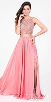 Terani Couture Two Piece Beaded High Slit Chiffon Prom Dress
