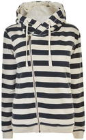 Maison Scotch Striped Zip Hooded Sweatshirt