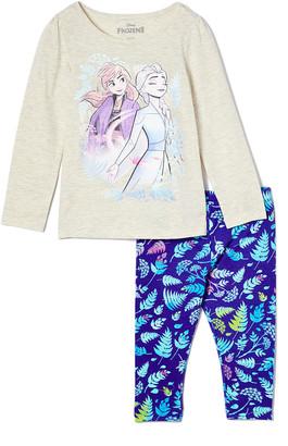 Children's Apparel Network Girls' Leggings BEIGE - Frozen 2 Beige Anna & Elsa Long-Sleeve Tee & Blue Foliage Leggings - Toddler & Girls