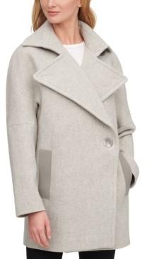 Calvin Klein Asymmetrical Faux-Leather-Trim Peacoat