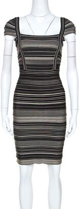 Herve Leger Bicolor Striped Sandra Bandage Dress M