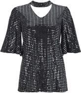 Wallis Silver Sequin Sleeve Top