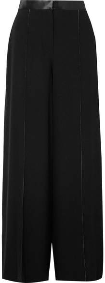 Elizabeth and James Yuli Satin-trimmed Crepe Wide-leg Pants - Black