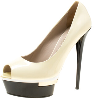 Le Silla Cream Patent Leather Peep Toe Platform Pumps Size 39