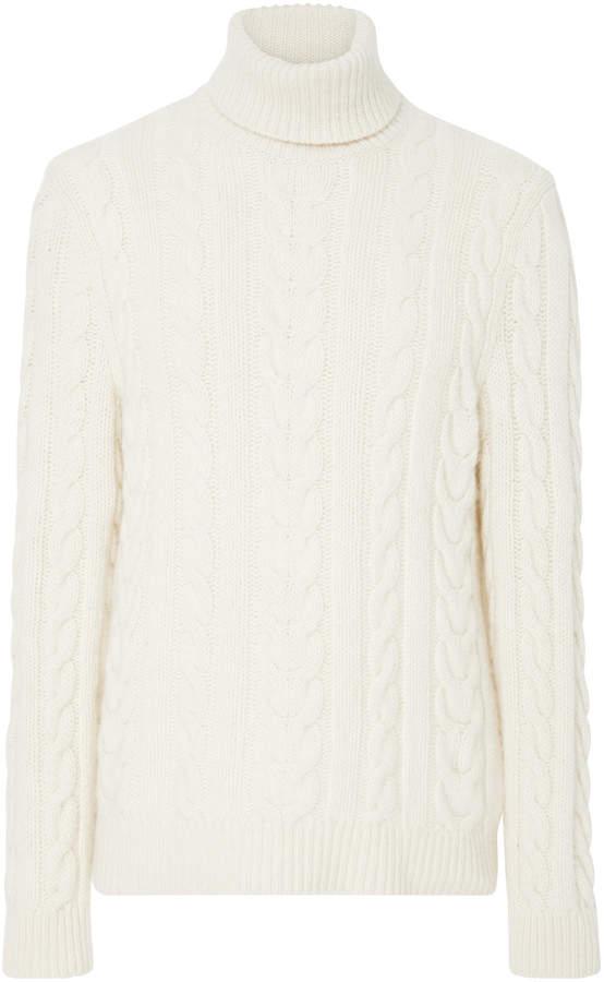 Ralph Lauren Cable-Knit Cashmere Turtleneck Sweater