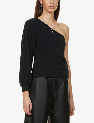 AllSaints Eloise one-shoulder stretch-cotton sweat top