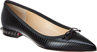 Christian Louboutin Hall Spiked Embossed Leather Flat