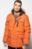 Boohoo Padded Parka With Fur Hood