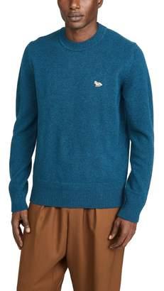 MAISON KITSUNÉ Long Sleeve Lambswool Rib Neck Pullover