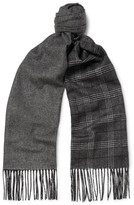 Dunhill - Fringed Patterned Mulberry Silk And Cashmere-blend Scarf