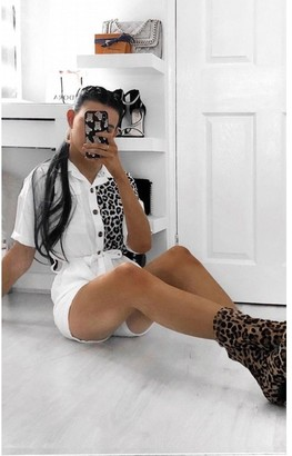 Ikrush Carrie Leopard Print Playsuit