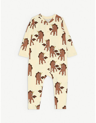 Mini Rodini Unicorn-print long-sleeved organic stretch-cotton babygrow 1-18 months