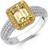 Lafonn Two-Tone Micro Pave Canary & White Simulated Diamond Center Emerald Cut Ring