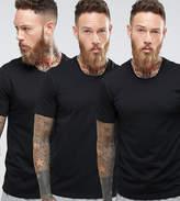 Boss Black By Hugo Boss Crew T-shirt 3 Pack In Regular Fit Black