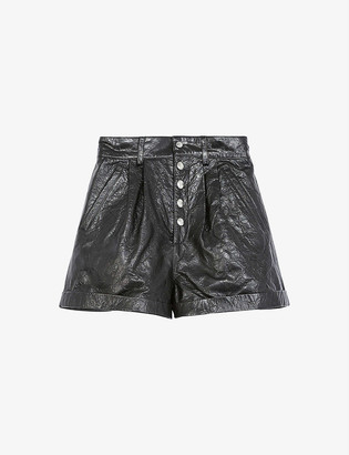 The Kooples Distressed high-rise leather shorts