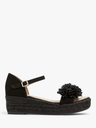 AND/OR Kady Pom Pom Wedge Heel Sandals, Black
