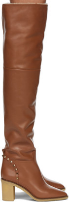 Valentino Tan Garavani Shearling Thigh-High Boots