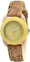 Sprout Women's ST/1057YLCK Swarovski Crystal-Accented Yellow Cork Strap Watch
