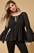 Lucca Couture Mimi Tie Front Long Sleeve Top