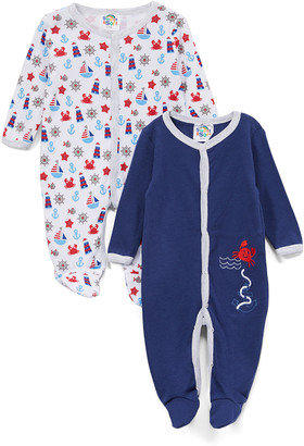 Sweet & Soft Boys' Footies Navy - Navy & Red Crab Footie - Set of Two