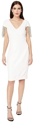 Badgley Mischka V-Neck Beaded Sleeve (Ivory) Women's Dress