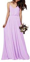 Gardenwed Simple Spaghetti Straps Flowy Long Bridesmaid Dress Formal Dress