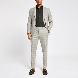 River Island Mens Beige check print skinny suit trousers