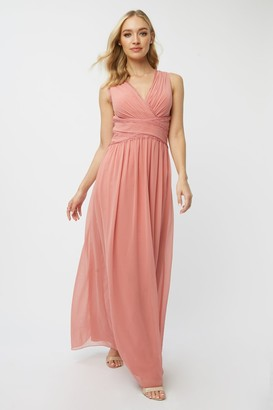 Little Mistress Bridesmaid Corrina Desert Rose Lace-Trim Maxi Dress