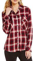 Sanctuary Plaid Boyfriend Roll-Tab Sleeve Shirt