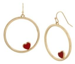 Betsey Johnson Circle Heart Drop Earrings