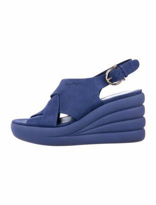 Salvatore Ferragamo Suede Cutout Accent Slingback Sandals Blue