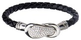 "Steel Art Women's Steel Art Black Italian Leather Bracelet with Preciosa Crystals Magnetic Closure (7.25"")"