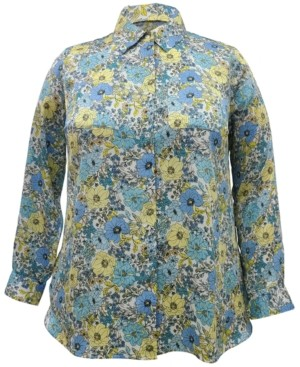 INC International Concepts Inc Plus Size Floral Button-Up Blouse, Created for Macy's