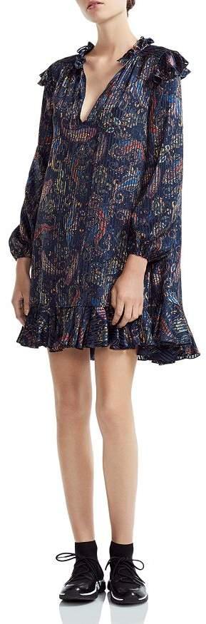 Maje Riley Ruffled Paisley-Print Mini Dress