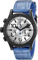 Nixon Women's A5042131 38-20 Chrono Leather Analog Display Japanese Quartz Blue Watch