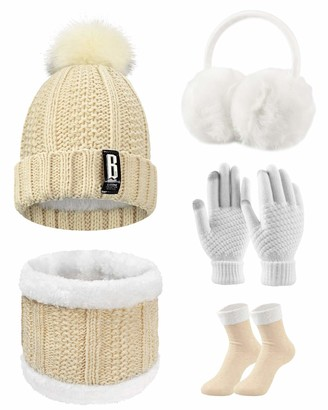 UMIPUBO Women Winter Knitted Hat and Scarf Set Ski Outing Set Plush Ear warmers Scarf Beanie Hat and Touch Screen Gloves Earmuffs Stockings Set for Outdoor Sports