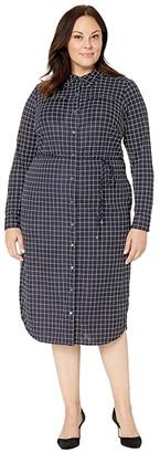 Lauren Ralph Lauren Plus Size Check-Print Jersey Shirtdress (Lauren Navy/Pale Cream) Women's Clothing