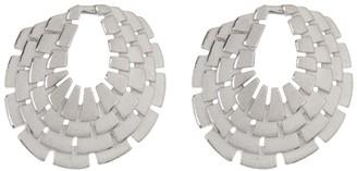 Breuning Sterling Silver Geo Frontal Hoop Stud Earrings
