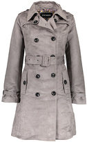 Steve Madden Gray Faux-Suede Double-Breasted Trench Coat