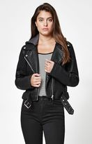 Members Only Hooded Faux Leather Moto Jacket