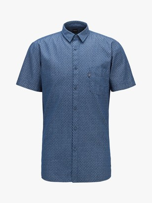 HUGO BOSS Magneton Print Short Sleeve Slim Fit Shirt, Dark Blue