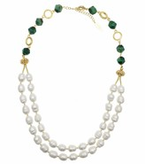 Freshwater Pearls & Tiger Eyes Stones Double Strands Necklace