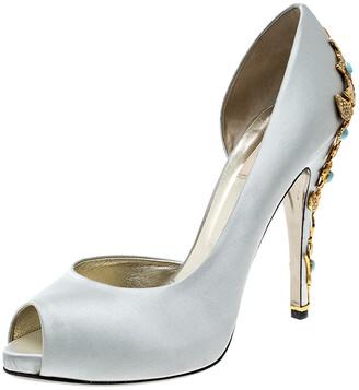 Valentino Grey Satin Crystal Embellished Jewel Heel Peep Toe D'orsay Pumps Size 41