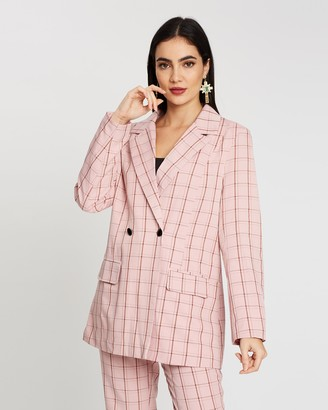 Missguided Check Oversized Blazer