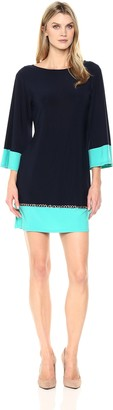 MSK Women's Colorblock Shift with Chain Detail Dress