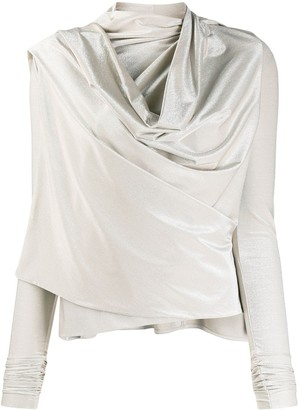 Rick Owens Lilies Draped Cowl-Neck Metallic Top