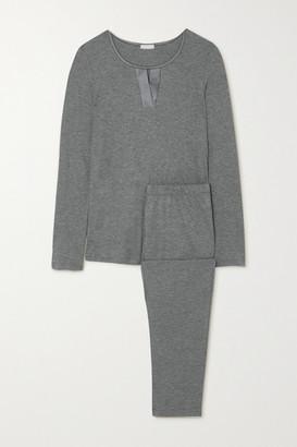 Hanro Fia Melange Stretch Silk-trimmed Cotton And Modal-blend Pajama Set - Gray